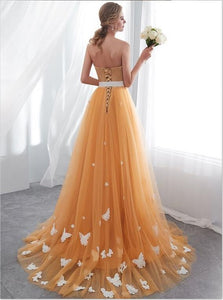 Orange A Line Strapless Tulle Long Lace Up Prom Dresses