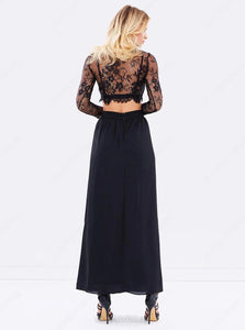 A Line Two Piece Scoop Lace Black Appliques Long Sleeves Prom Dresses