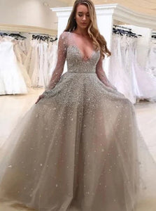 Tulle V Neck Long Sleeves Beadings Prom Dresses