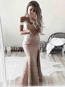 Off The Shoulder Mermaid Lace Slit Prom Dresses