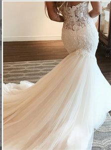 Sweetheart Tulle Mermaid Wedding Dresses with Appliques