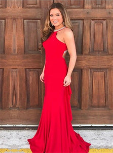Mermaid Jewel Sweep Train Red Satin Open Back Prom Dress with Beadings