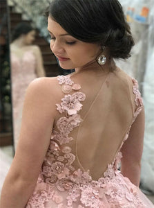 Sweep Train Pink Tulle Open Back Prom Dress with Appliques LBQ0360
