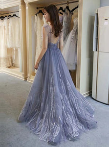 A Line V Neck Floor Length Organza Open Back Prom Dresses