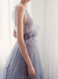 A Line V Neck Floor Length Organza Prom Dresses with Pleats