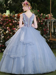 Ball Gown Sky Blue Appliques Organza Floor Length Prom Dresses
