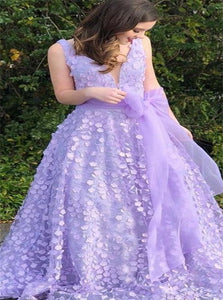 A Line Lilac V Neck Tulle Bowknot Prom Dresses