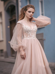 A Line Tulle Pink Prom Dresses with Appliques