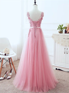 A Line Strap Lace Up Tulle Pink Appliques Floor Length Prom Dresses