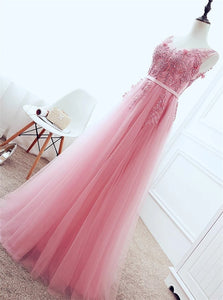 A Line Strap Lace Up Tulle Pink Appliques Prom Dress with Beadings and Belt