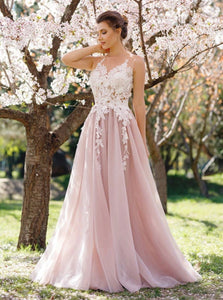 A Line V Neck Pink Backless Appliques Chiffon Prom Dresses