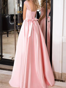 A Line Scoop Satin Pink Appliques Lace Up Prom Dresses with Bow Knot