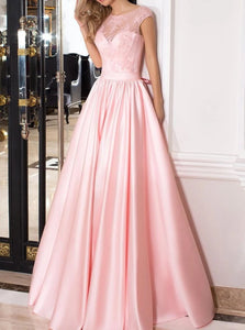 A Line Scoop Satin Pink Appliques Prom Dresses with Bow Knot