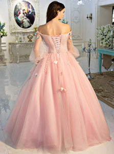 Ball Gown Pink Tulle Lace Up Appliques Long Sleeves Prom Dresses