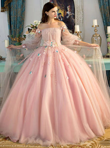 Ball Gown Pink Tulle Appliques Prom Dresses