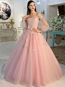Ball Gown Pink Tulle Lace Up Appliques Prom Dresses