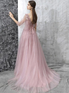 Pearl Pink Lace Half Sleeves Lace Up Prom Dress with Appliques