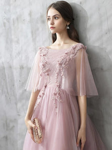 Pearl Pink Lace Scoop Half Sleeves Prom Dresses with Appliques