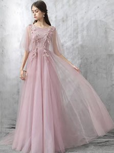 Pearl Pink Lace Sweep Train Half Sleeves Prom Dress with Appliques