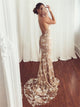 Mermaid Sleeveless Champagne Tulle Prom Dresses with Appliques