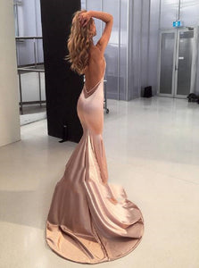 Sexy Mermaid Long Satin Pink Prom Dresses with Open Back
