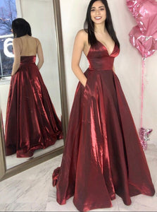 A Line Spaghetti Straps Floor Length Burgundy Prom Dresses with Pockets