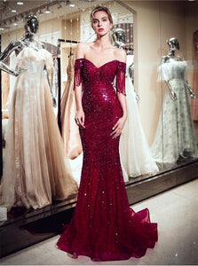 Off the Shoulder Dark Red Beadings Mermaid Prom Dresses