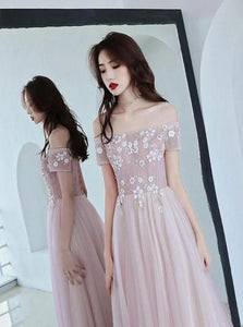 A Line Off the Shoulder Appliques Tulle Pink Prom Dresses