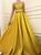 A Line Appliques Yellow Satin Prom Dresses
