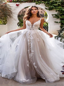A Line Appliques Sleeveless Floor Length Wedding Dresses