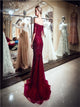 Dark Red Beadings Mermaid Prom Dresses with Sweep Train