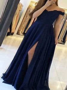 A Line Short Sleeves Tulle Prom Dresses with Slit