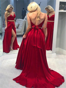Two Piece Spaghetti Straps Open Back Sweep Train Red Prom Dresses with Split