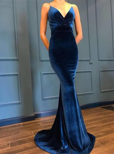 Deep V Neck Mermaid Velvet Prom Dresses