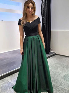 A Line Off The Shoulder Pleats Taffeta Short Sleeves Prom Dresses