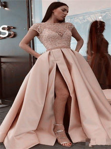 A Line Champagne Scoop Beadings Prom Dresses with Slit