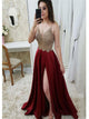A Line Slit Burgundy Sweep Train Satin Prom Dresses