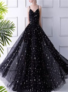 Black Spaghetti Straps Tulle Prom Dresses with Stars