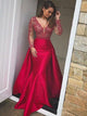 Mermaid Long Sleeves Red Lace Prom Dresses