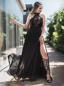 Black Appliques Halter Chiffon Prom Dresses with Slit
