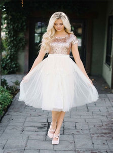 A Line Cap Sleeves Gold Short Tulle Prom Dresses