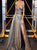 A Line Golden Sequins Prom Dresses with Sweep Train