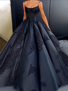 Ball Gown Spaghetti Straps Appliques Satin Prom Dresses