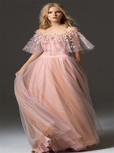 Tulle Jewel Bell Sleeves A Line Prom Dresses With Handmade Flowers