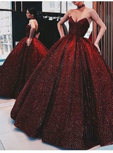 Burgundy Ball Gown Sweetheart Sequins Prom Dresses