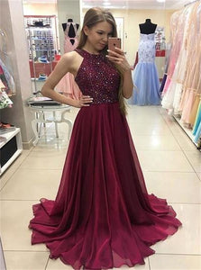 A Line Wine Red Chiffon Sequins Scoop Sweep Train Prom Dresses