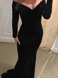 Long Sleeves Mermaid Black Velvet Prom Dresses