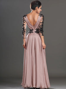 A Line Satin V Neck Pink Open Back Long Sleeves Prom Dresses
