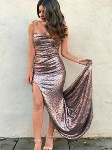 Strapless Sequins Mermaid Sweep Train Prom Dresses with Slit