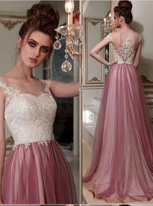 A Line Tulle Pink Scoop Beadings Sweep Train Prom Dresses